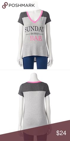 Sunday is my bae v neck t shirt Product Details This juniors' Hanging With My Friends tee gives you relaxing style with its high-low hem and ''Sunday Is My Bae'' graphic.  PRODUCT FEATURES V-neck Short sleeves Back yoke Contrast trim FABRIC & CARE Rayon, spandex Machine wash Tops
