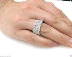 Womens 1.29 CT 14K White Gold Round Diamond Wide Band Ring Wedding Cocktail 7  #SageDesigns #Band