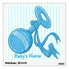 This cute Boy Baby Rattle Square Wall Decal features a light blue and white striped background that is customizable, light blue baby rattle ...