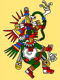 Quetzalcoatl: 'The Feathered Serpent' or Precious Twin. God of intelligence and self-reflection, a patron of priests. Primordial god of creation, a giver of life. With his opposite Tezcatlipoca he created the world. Also called White Tezcatlipoca, to contrast him with black Tezcatlipoca. In his guise as the wind god, he bears on his chest the jewel of the wind, a pectoral in the shape of a cut conch; also associated with wisdom, arts and philosophy.
