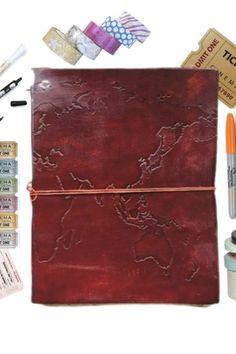 World map oversized large handmade leather journal handmade world map oversized large handmade leather journal gumiabroncs Choice Image