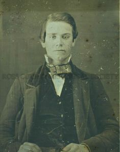 A lovely daguerreotype image of Jacob Wolfe. The standing collar and the symmetrical, geometric shape of the bow date this to the late 1840s/early 1850s.