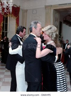 Diana, Princess of Wales dances with actor Clint Eastwood during a White House Gala Dinner in her honor November 9, 1985 in Washington, DC.