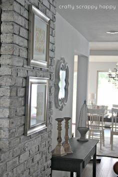 Grey Brick Fireplace Outdated To Cottage Chic Brick Wall Painting Tips Tutorial How To Transform Brick Inside Your Home By Crafty Scrappy Happy Using Chalk White Brick Fireplace Grey Walls Modern Brick House, Brick House Designs, Brick Design, Fireplace Redo, Brick Fireplace, Modern Fireplace, Painted Brick Walls, Interior Brick Walls, Grey Brick