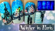 Winter in Paris ⎮ Glow in the Dark Freehand Nail Art Tutorial