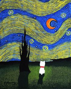 Westie Terrier Dog Folk Art PRINT Todd Young painting Starry Sky. $13.50, via Etsy.