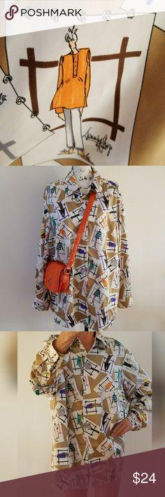 "Jennifer George SKETCHBOOK VTG blouse What's better that this  ""Poshmark"" theme blouse? Fashion all over it. Vintage 100% polyester, side slits Vintage Tops Blouses"