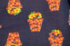 Little Daisy Calico Flowerpots- Vintage Fabric  60s 70s NOS Juvenile Floral. $14.00, via Etsy.
