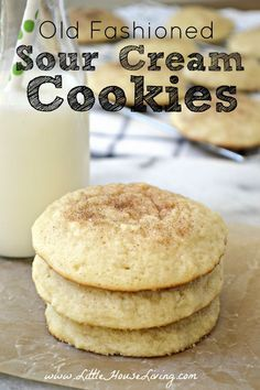 Post image for Old Fashioned Sour Cream Cookies Recipe little house living Need a delicious new cookie treat to make this holiday season? You must try these soft Old Fashioned Sour Cream Cookies! Sour Cream Sugar Cookies, Sugar Cookies Recipe, Cream And Sugar, Cookies And Cream, Mini Desserts, Sour Cream Desserts, Just Desserts, Lemon Desserts, Oreo Dessert