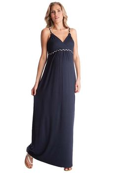 e767b19a144bd WWork the nouveau nautical aesthetic in Seraphine's striking navy blue  maternity maxi dress, designed with the French Riviera in mind.