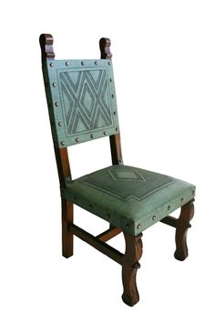 4 Tooled Leather Chairs In Turquoise Western Dining