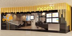 Ntuc Reception Counter, gold and black theme. Office Interior Design by Traart Pte Ltd. Interior Design Process, Office Interior Design, Office Interiors, Reception Counter, Layout, Yellow, Gold, Furniture, Black