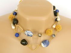 Blue Gemstone Necklace Long Handcrafted Freshwater Pearls Gold Links by BlondePeachJewelry on Etsy