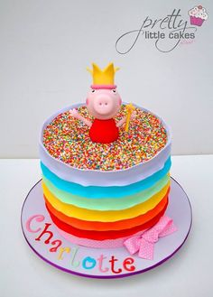 Rainbow Peppa Pig cake More Peppa Pig can be a United kingdom preschool animated television Tortas Peppa Pig, Bolo Da Peppa Pig, Peppa Pig Birthday Cake, Peppa Pig Cakes, 3rd Birthday, Birthday Ideas, Aniversario Peppa Pig, Pig Party, Little Cakes