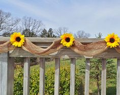 Rustic Chic Wedding Decor, Burlap & Sunflower Garland,  Bridal Shower Decor