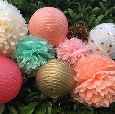 Tissue paper poms & lanterns!