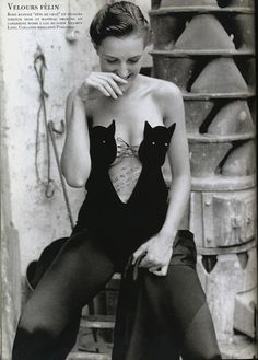 Helmut Lang cat bustier bodysuit, 1989, William Claxton
