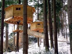 CABANES ALS ARBRES Sant Hilari Sacalm, Spain Perched high above the forest floor in Spain's Les Guilleries mountains, the treehouses at Cabanes als Arbres may lack electricity and running water, but they make up for it with stunning views of the Pyrenees and Montseny mountain ranges.