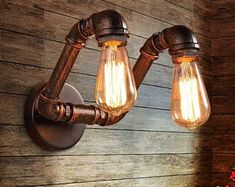 sconce lamp on sale at reasonable prices, buy Retro industrial loft pipe wall light sconces lamp Edison bulb vintage home lighting fixtures for bar livingroom from mobile site on Aliexpress Now! Cheap Lighting, Pipe Lighting, Rustic Lighting, Industrial Lighting, Wall Sconce Lighting, Industrial Loft, Lighting Ideas, Outdoor Lighting, Balcony Lighting