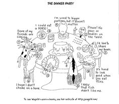 Cartoon animals around a table demonstrating the nine enneagram types