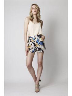 Spoken for - mustard blue floral print shorts