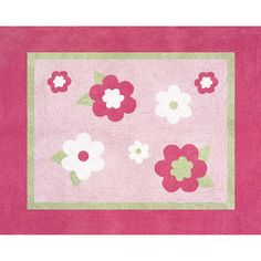"Sweet Jojo Designs Flower Pink and Green Pink Area Rug Size: 36"" x 30"" x 0.5"""