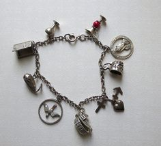 Sterling Charm Bracelet with 9 Charms, Mechanical Charms in Religious-Biblical Motif
