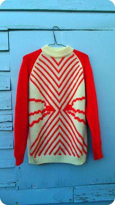 Bright Red Bold Retro Winter Sweater by ThreadyJenny on Etsy