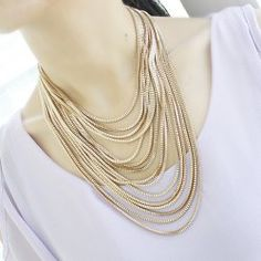 $7.91 Exaggerated Solid Color Women's Multi-Layered Chain Necklace