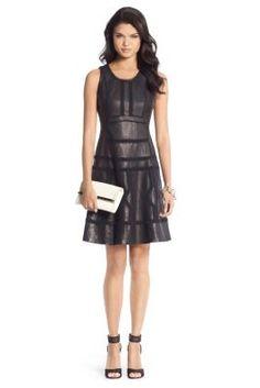 DVF Margot Trim Detail Leather Dress