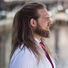 Half Up Long Hairstyle - 40 Hot Guys with Long Hair: Sexy Long Hairstyles For Men #longhairmen #menshairstyles #menshair #menshaircuts #menshaircutideas #menshairstyletrends #mensfashion #mensstyle #fade #undercut #barbershop #barber