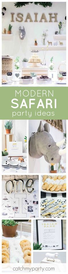 This stylish modern Safari birthday party is just so cool! The dessert table is to die for! See more party ideas and share yours at CatchMyParty.com