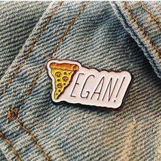 "Vegan Pizza Enamel Pin measures 1"" wide & includes a metal clutchback."