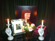 Fornasetti commode at Betony Vernon's Eden in Paris - Irving Claw Bettie Page photo, Portrait of BV by Mihael Milunovic