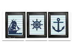 Nautical nursery Poster prints Pirate theme Navy ship art print Ships wheel wall hanging Boat anchor Blue stripes Boys room Kids wall decor