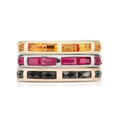 Jane Taylor Jewelry - Cirque Collection baguette eternity bands with orange sapphire, ruby and black spinel