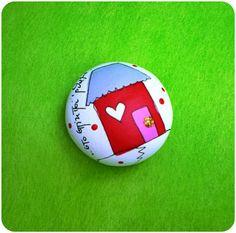 Βότσαλο από πηλό ζωγραφισμένο -σπίτι κόκκινο :: ..δημιουργούμε μαζί..