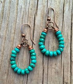 Turquoise Earrings, Blue Green Turquoise and Copper Hoop Earrings on Etsy, $32.00