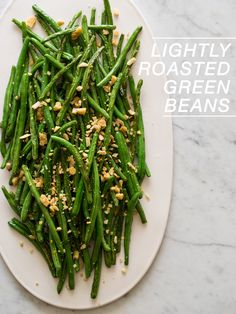 Lightly Roasted Green Beans with an Almond Parmesan Crumble.