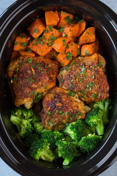 This Slow Cooker Chicken with Sweet Potatoes and Broccoliis perfectly easy to make yet it's so deliciously satisfying! A great meal any day of the week! This recipe makes a slow cooker full! As in once you add the broccoli it will be nearly filled to the top. So it's the perfect recipe to feed a hungry family on a