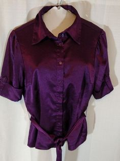 APT 9 Shirt Blouse Women Size M Medium Button Up Belted Short Sleeve Fitted #Apt9 #Blouse #Career