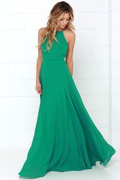 Green Chiffon Evening Party Dress