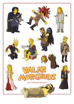 Les morts de Game of Thrones version Simpson : Valar Morghulis