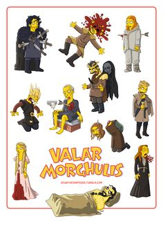 Les morts de Game of Thrones version Simpson : Valar Morghulis