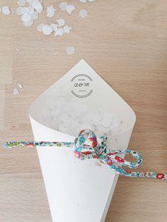 20 cornets à confettis Mariage cônes en papier blanc