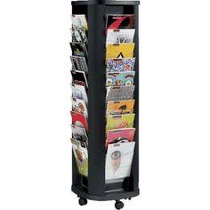 Expositor de pie giratorio con 40 casillas, 4 caras de 10 estantes cada una. Estructura de metal. Color negro.
