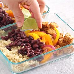 Throw all of the ingredients for this Meal Prep Sheet Pan Tofu Quinoa Burrito Bo. - Throw all of the ingredients for this Meal Prep Sheet Pan Tofu Quinoa Burrito Bowls on a baking she - Tasty Vegetarian Recipes, Vegetarian Meal Prep, Healthy Meal Prep, Veggie Recipes, Whole Food Recipes, Healthy Snacks, Cooking Recipes, Lamb Recipes, Meal Prep For Vegetarians