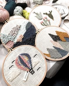 Arty and Creative DIY Embroidery Decor You Can Make in a Weekend DIY & Crafts Talking about home decor and DIY is very amusing. You can make such a stunning, adorable and chic home decor by DIY. A handmade feel could be very dec. Hand Embroidery Stitches, Diy Embroidery, Embroidery Patterns, Arte Punch, Punch Art, Diy Broderie, Punch Needle Patterns, Knitting Needles, Needles Art