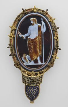 Cameo of Jupiter (The Cameo of Chartres), Roman, about A.D. 50; Sardonyx set in a fourteenth-century gold and enamel mount. One of the best examples in existence of the interplay between and balance of Nature and Artistry.