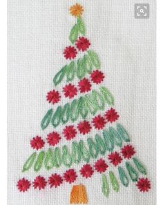 Brazilian Embroidery Patterns FREE Christmas and Holiday Patterns: Surface Embroidered Christmas Tree - From Santa and snow to trees and stars, get ready for holiday stitching with these 10 free Christmas hand embroidery patterns. Hardanger Embroidery, Hand Embroidery Stitches, Silk Ribbon Embroidery, Embroidery Kits, Cross Stitch Embroidery, Embroidery Needles, Simple Embroidery, Machine Embroidery, Hand Stitching